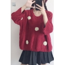 Chic Pom-Pom Embellished Round Neck Batwing Sleeve Loose Split Side Pullover Sweater