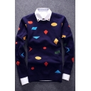 Fashion Geometric Pattern Round Neck Long Sleeve Leisure Pullover Sweater