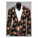 Fashionable Floral Print Single Button Notch Lapel Split Back Long Sleeve Blazer