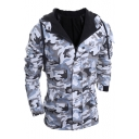 Fashionable Camouflage Zipper Up Drawstring Hood Long Sleeve Coat