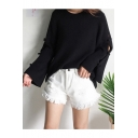 Simple Plain Hollow Out Side Round Neck Long Sleeve Loose Pullover Sweater