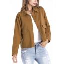 Simple Plain Lapel Long Sleeve Buttons Down Comfort Jacket