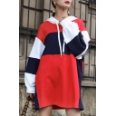 Stylish Color Block Long Sleeves Drawstring Pullover Hooded Shift Mini Dress