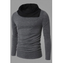 Simple Contrast Turtleneck Long Sleeves Slim-Fit Pullover T-shirt