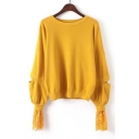 Simple Plain Hollw Out Lace Panel Round Neck Long Sleeve Pullvoer Sweater