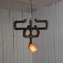 Industrial Retro Pendant Light in Open Bulb Style with Pipe Fixture, Black