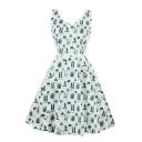 New Fashion Cartoon Plant Print V-Neck Sleeveless Fit & Flare Mini Dress