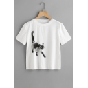 Adorable Simple Cat Pattern Round Neck Short Sleeves Pullover T-shirt