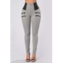 Trendy High Waist Color Block Skinny Pants with Zippers
