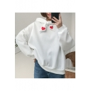 Simple Heart Embroidered Tie Front Long Sleeve Hoodie