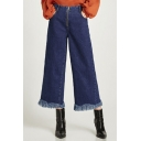 Simple Plain Raw Hem Zip Up High Waist Wide Leg Jeans