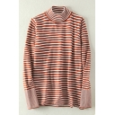 Leisure Striped Mock Neck Long Sleeve Pullover Sweater