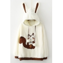 Fashion Squirrel Pattern Long Sleeve Pom-Pom Embellished Hoodie