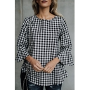 Chic Plaid Round Nck Flared Long Sleeve Pullover Blouse