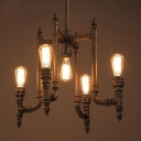 Industrial Vintage 5 Light Pipe Chandelier 21.6''W in Black Finish