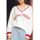 Letter Embroidered Long Sleeve V-Neck Pullover Sweater