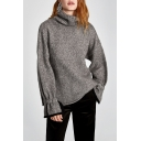 Simple Plain Turtleneck Ruffle Long Sleeve Pullover Sweater
