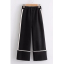 Simple Contrast Striped Elastic Waist Wide Leg Pants