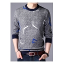 Trendy Symbol Geometric Printed Round Neck Long Sleeves Contrast Trimmed Pullover Sweater