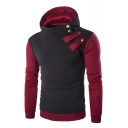 Men's Fashion Zipper-Front Color Block Long Sleeves Pullover Slim-Fit Hoodie with Buttons