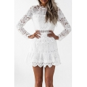 New Stylish Long Sleeve Lace Panel Plain Hollow Out Mini Dress