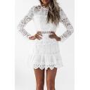 New Stylish Long Sleeve Lace Panel Plain Hollow Out Mini Dress