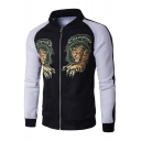 Cool Tiger Graffiti Pattern Color Block Long Sleeves Zip-up Baseball Jacket with Pockets