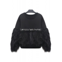 Fashion Diamante Detail Faux Fur Round Neck Long Sleeve Plain Pullover Sweatshirt