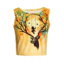 Stylish Deer Antler Swing Sunset Printed Round Neck Sleeveless Cropped Tank Top
