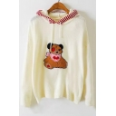Cute Bear Fluffy Embroidery Long Sleeves Ribbed Hem Striped Hooded Pullover Sweater