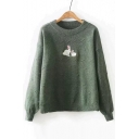 Stylish Rabbit Pattern Round Neck Long Sleeve Pullover Sweater