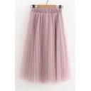 Simple Elastic Waist Pleated Layered Mesh Midi Skirt