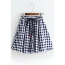 Fashionable Classic Plaid Print Elastic Waistband Skirt
