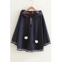 Adorable Rabbit Ear Hood Batwing Sleeves Pom Pom Hem Cape with Drawstring