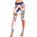 Fashionable Color Block Flag Cartoon Pattern Elastic Waist Slim-Fit Leggings