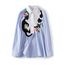 New Stylish Lapel Striped Cat & Floral Embroidery Button Down Shirt