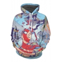 Fancy Comic Graffiti Superhero Skyscraper Sky Cartoon Printed Pullover Hoodie
