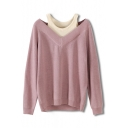 Trendy Layered Color Block Cold Shoulder Long Sleeves Pullover Loose Sweater