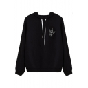 Rock and Roll Hand Gesture Printed Long Sleeves Pullover Hoodie with Drawstring