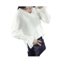 Simple Plain V-Neck High Low Hem Long Sleeve Pullover Sweater