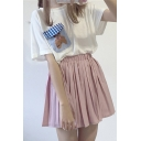 Simple Plain Elastic Waist Pleated Mini Skirt
