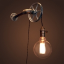 Industrial Wall Sconce with Wheel and Adjustable Hanging Cord, Bronze
