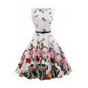 Floral Butterfly Print Round Neck Sleeveless Fit & Flare Midi Dress