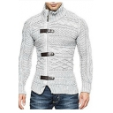 Men's Fashion Long Sleeves High Neck Zippered single-Breasted Double-Knitted Sweater