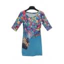 Stylish 3D Balloon Print Scoop Neck Bodycon Mini Dress