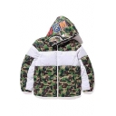 Color Block Camouflage Print Long Sleeve Zipper Hooded Coat