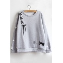 Cartoon Cat Print Tie Front Long Sleeve Round Neck Pullover Sweatshirt