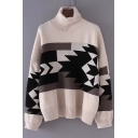 Trendy Geometric Print Long Sleeve Turtleneck Pullover Sweater