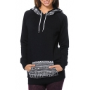 Stylish Geometric Pattern Long Sleeves Pullover Hoodie with Pocket