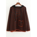 Retro Color Block Striped Print Long Sleeve Hooded Sweater